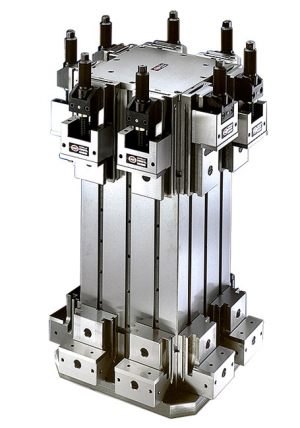 Vertical four-position support modular clamping units